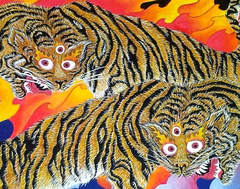 Playful Tigers - detail