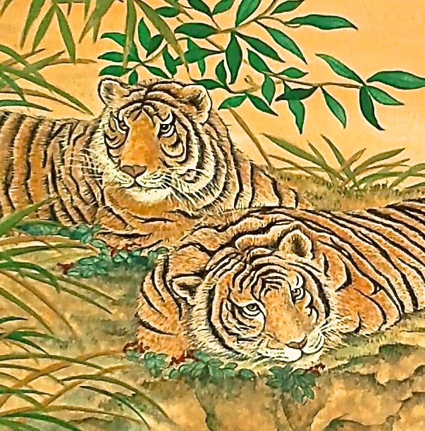 Lounging Tigers Detail