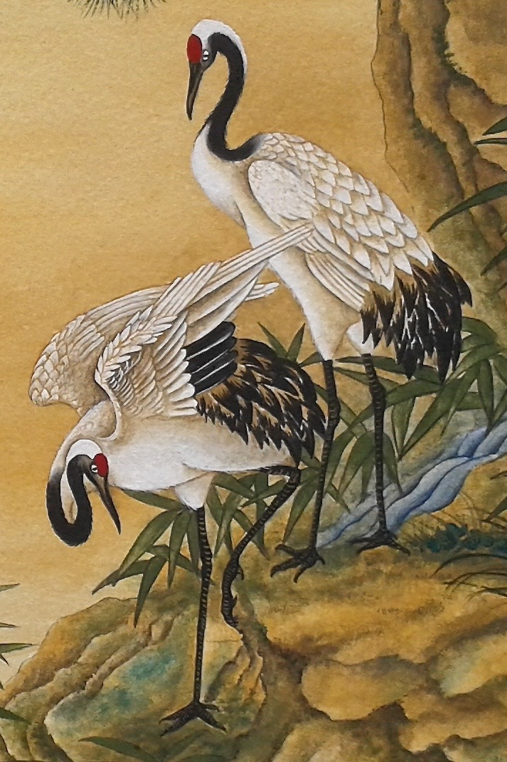 Cranes Watching A Waterfall - detail