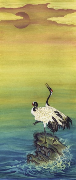 Cranes at Dawn 2, 27x50cm, gouache on card £370